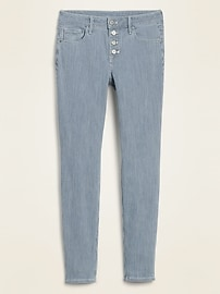 Mid-Rise Button-Fly Railroad-Stripe Rockstar Super Skinny Jeans for Women