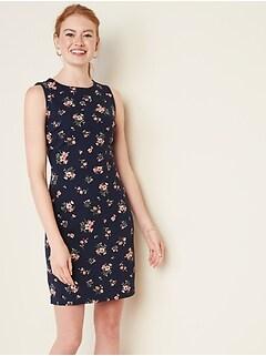 Sleeveless Ponte-Knit Sheath Dress for Women