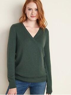 Maternity Wrap-Front Nursing Sweater