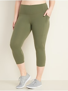 High-Waisted Elevate Side-Pocket Plus-Size Compression Crops