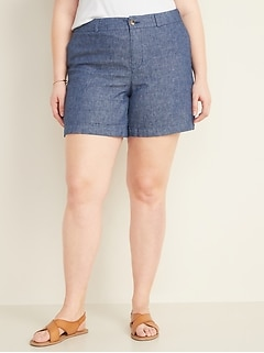 Mid-Rise Plus-Size Everyday Linen-Blend Shorts - 7-inch inseam