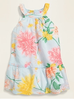 Sleeveless Floral High-Neck Dress for Baby