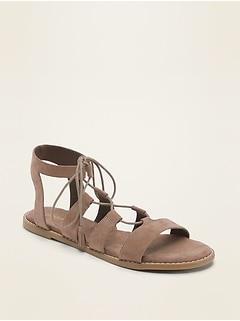 Sandales lacées en faux suède de style spartiate pour femme