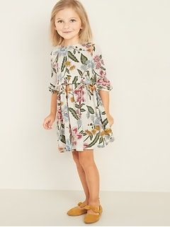 Printed Crinkle-Crepe Ruffle-Waist Dress for Toddler Girls