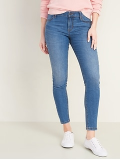 Mid-Rise Medium-Wash Super Skinny Ankle Jeans for Women