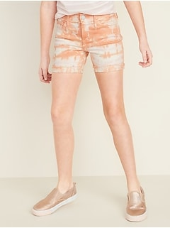 Tie-Dyed Frayed-Hem Jean Midi Shorts for Girls