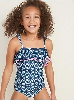 Ruffled Pom-Pom-Trim Swimsuit for Girls