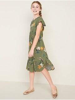 Flutter-Sleeve Tulip-Hem Midi Dress for Girls