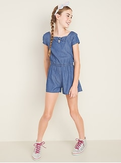 Chambray Square-Neck Romper for Girls