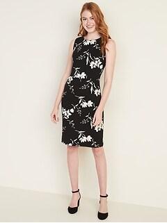 Sleeveless Ponte-Knit Knee-Length Sheath Dress for Women