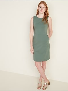 Sleeveless Ponte-Knit Knee-Length Sheath Dress for Women