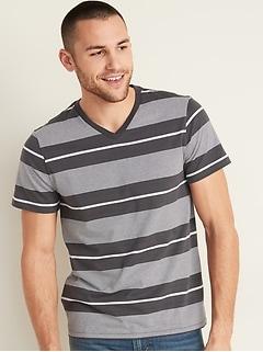 T-shirt rayé à col en V au fini soyeux pour homme