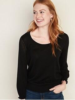 Lightweight Pointelle-Sleeve Sweater for Women
