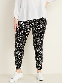 High-Waisted Plus-Size Jersey Full-Length Leggings