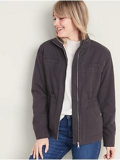 Sherpa-Lined Utility Jacket for Women