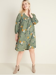 Plus-Size Pintuck Button-Front Swing Dress