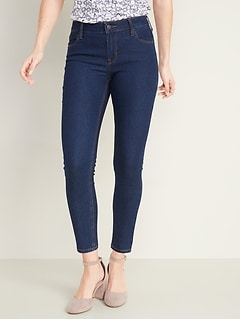 Mid-Rise Dark-Wash Super Skinny Ankle Jeans for Women