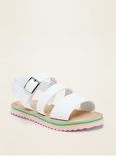 Faux-Leather Triple-Strap Sandals for Toddler Girls