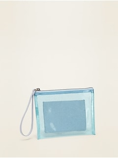 Clear Glitter-Vinyl Zip-Top Wristlet for Women