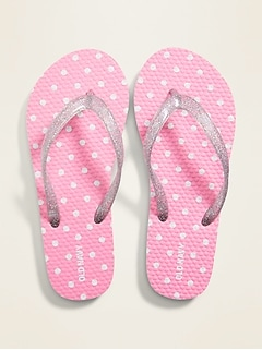 Polka-Dot Glitter-Strap Flip-Flops for Girls
