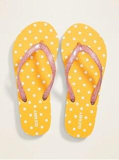 Polka-Dot Glitter-Strap Flip-Flops for Girls