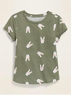 T-shirt à imprimé avec encolure échancrée pour toute-petite fille
