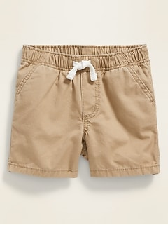 Gender-Neutral Twill Pull-On Shorts for Baby