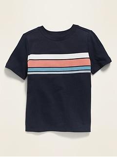 T-shirt col rond avec rayures sur la poitrine pour tout-petit garçon