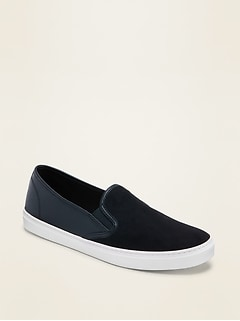 Faux-Suede/Faux-Leather Slip-On Sneakers for Women