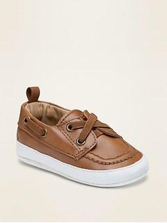 Chaussures bateau en similicuir pour bébé