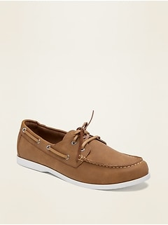 Faux-Leather Boat Shoes for Men