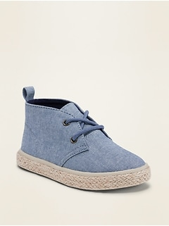 Chambray Lace-Up Sneakers for Toddler Boys