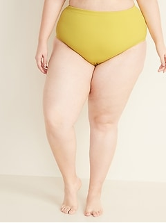 High-Waisted Textured Secret-Slim Plus-Size Swim Bottoms