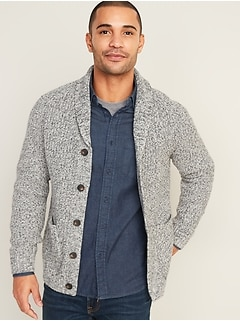 Marled Shawl-Collar Button-Front Cardigan for Men