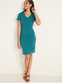 Ponte-Knit V-Neck Sheath Dress for Women