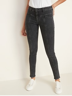 Mid-Rise Rockstar Seamed Super Skinny Jeans for Women