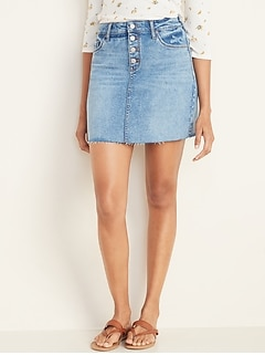 High-Waisted Button-Fly Frayed-Hem Jean Skirt for Women