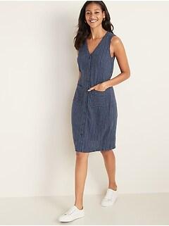 Sleeveless Striped Linen-Blend Fit & Flare Dress for Women