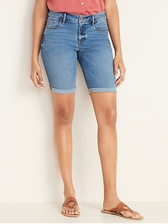 Mid-Rise Cuffed Bermuda Slim Jean Shorts for Women -- 9-inch inseam