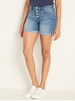 Mid-Rise Button-Fly Mid-Length Jean Shorts for Women -- 5-inch inseam