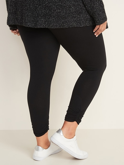 High-Waisted Ruched Plus-Size Leggings