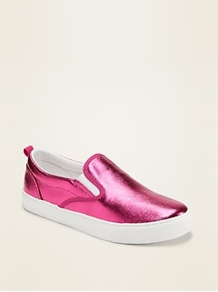 Metallic-Coated Canvas Slip-On Sneakers for Girls