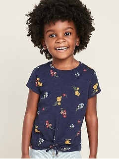 Printed Tie-Hem Slub-Knit Top for Toddler Girls