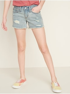 Light-Wash Distressed Jean Cut-Off Shorts for Girls