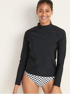 Haut de maillot anti-UV à manches longues et col montant pour femme