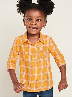 Plaid 3/4-Sleeve Tunic Shirt for Toddler Girls