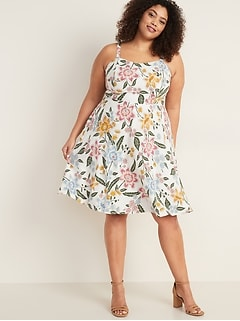 Printed Fit & Flare Plus-Size Cami Dress