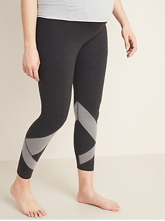 Maternity Full-Panel Color-Blocked Balance 7/8-Length Leggings
