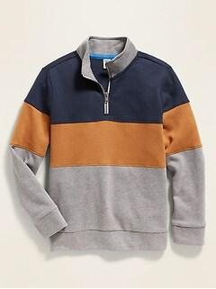 Color-Blocked 1/4-Zip Mock-Neck Sweatshirt for Boys