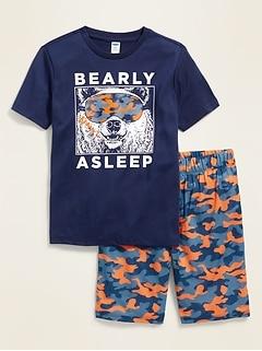 Graphic Pajama Tee & Pajama Shorts Set for Boys